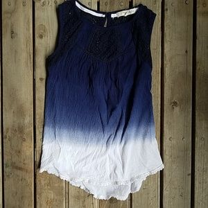 Rewind Navy to white ombre tank top, keyhole back